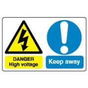 Multiple safety sign - High Voltage 015